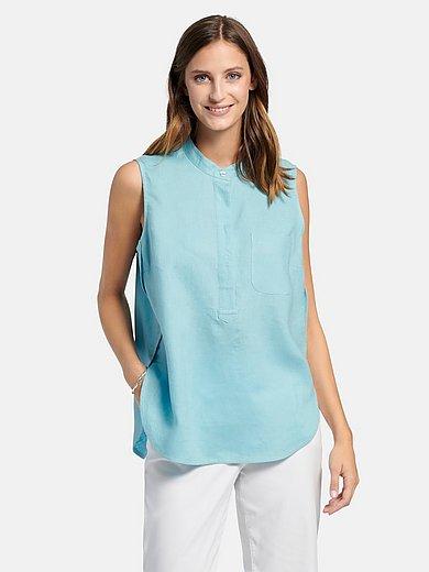Peter Hahn - Mouwloze blouse van 100% linnen met staand kraagje