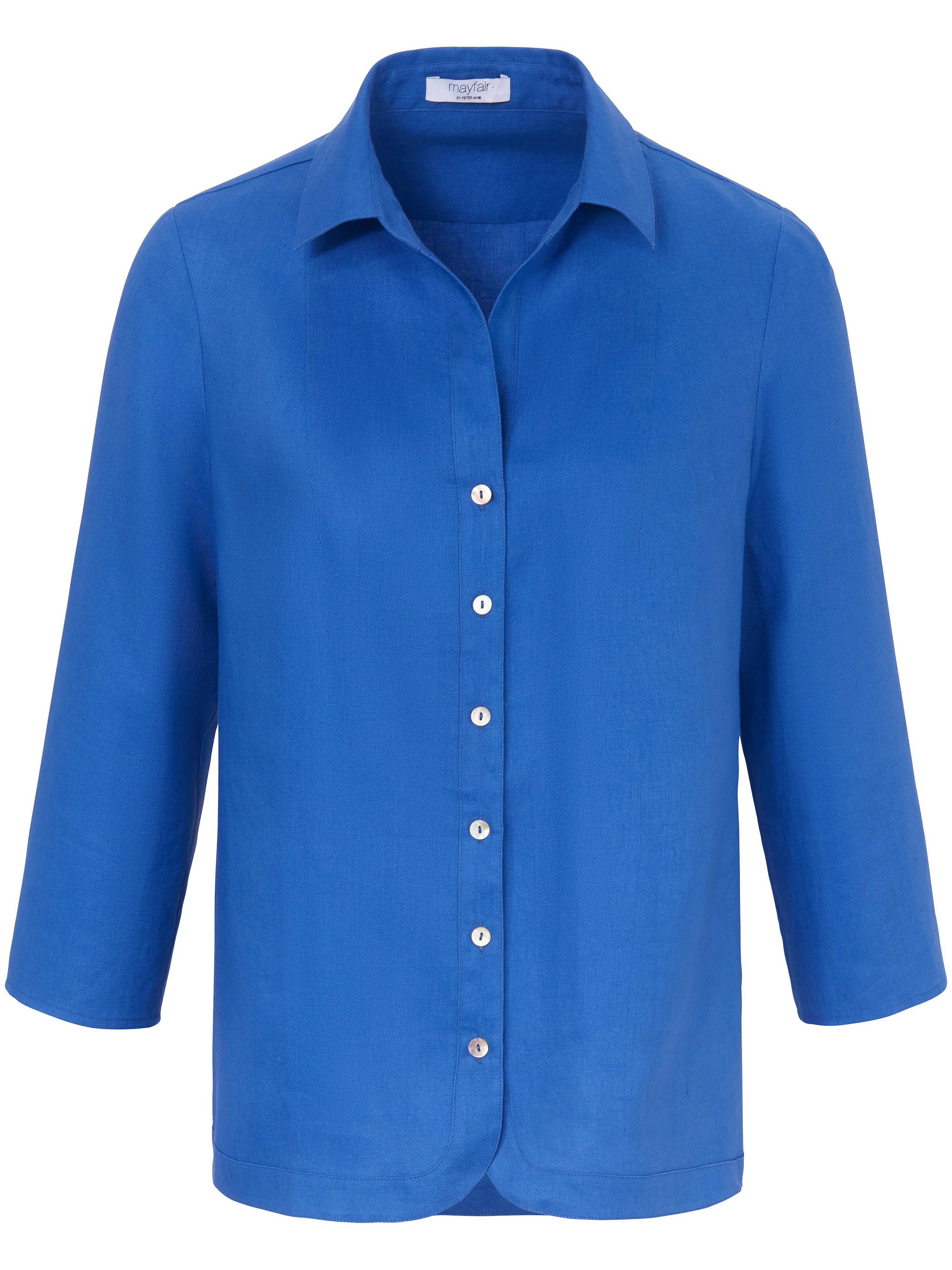 Blouse 3/4-mouwen en overhemdkraag Van mayfair by Peter Hahn blauw