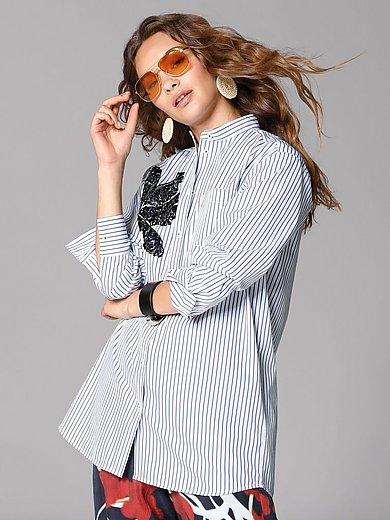 Margittes - Lang bluse med ståkrave