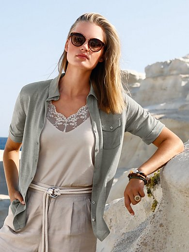 ZAIDA - Shirtblouse van 100% linnen met korte mouwen