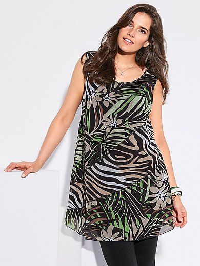 Via Appia Due - Sleeveless top with jungle and animal prints