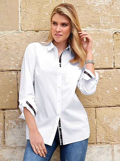 Anna Aura - Blouse met overhemdkraag en zijsplitten