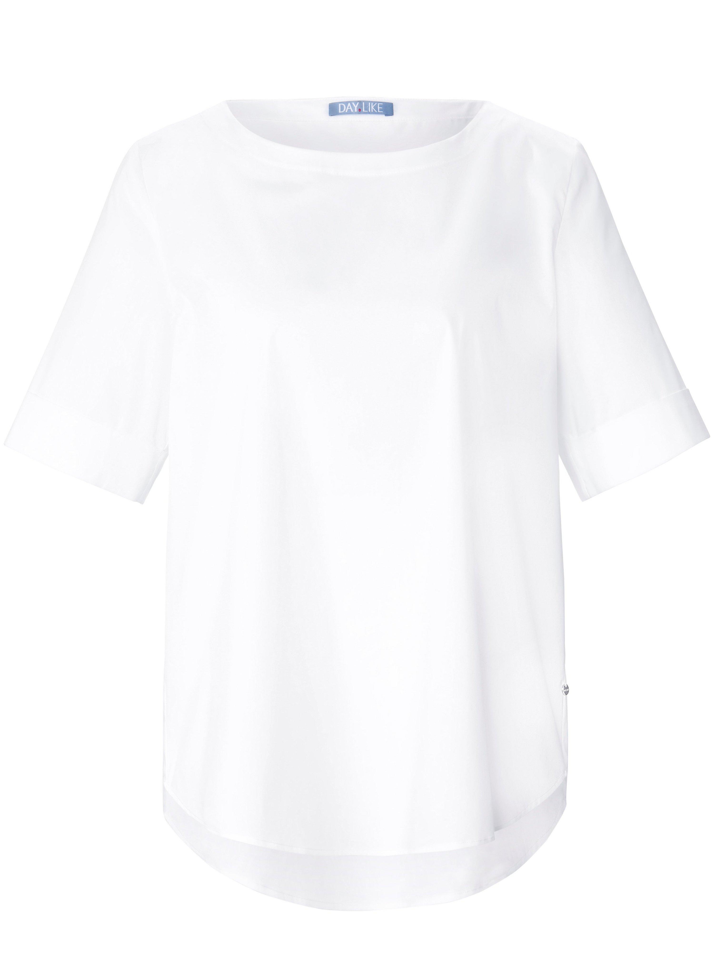 Shirt omslag aan de korte mouwen Van DAY.LIKE wit