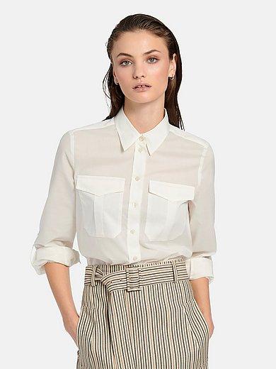 Fadenmeister Berlin - Blouse in overhemdmodel van katoen en zijde