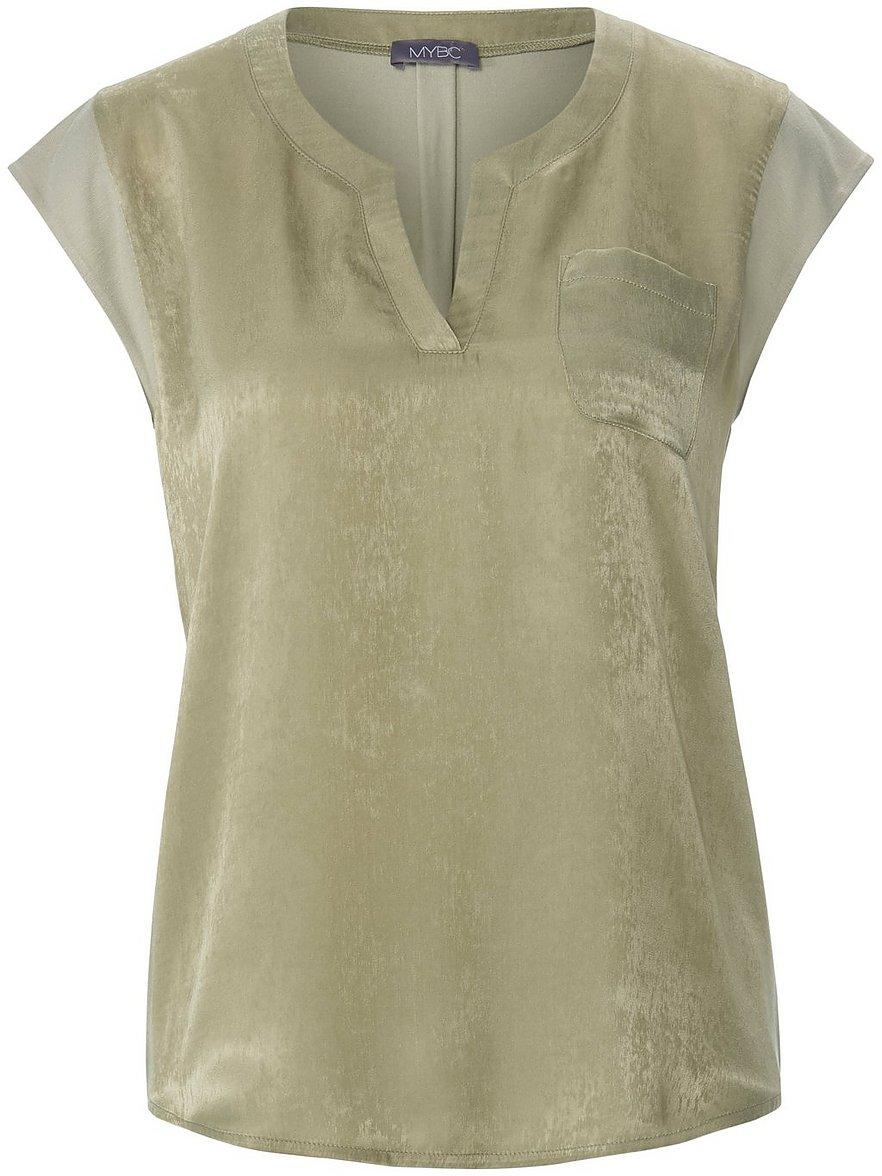 Artikel klicken und genauer betrachten! - Blusen-Shirt von MYBC mit überschnittener Schulter. Gewebtes Vorderteil mit Brusttasche aus 100% Polyester - Rücken in Jersey aus 95% Viskose, 5% Elasthan, LENZING™ ECOVERO™-Viskose erfüllt höchste Umweltstandards von der Rohstoffgewinnung bis zur Entsorgung. Länge ca. 64 cm. Dieses Blusen-Shirt ist maschinenwaschbar. Schonwaschgang 30°. Chlorbleiche nicht möglich. Nicht heiß Bügeln. Reinigung P. Trocknen im Tumbler nicht möglich. | im Online Shop kaufen