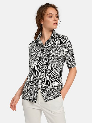 Peter Hahn - Short-sleeved jersey blouse with zebra print