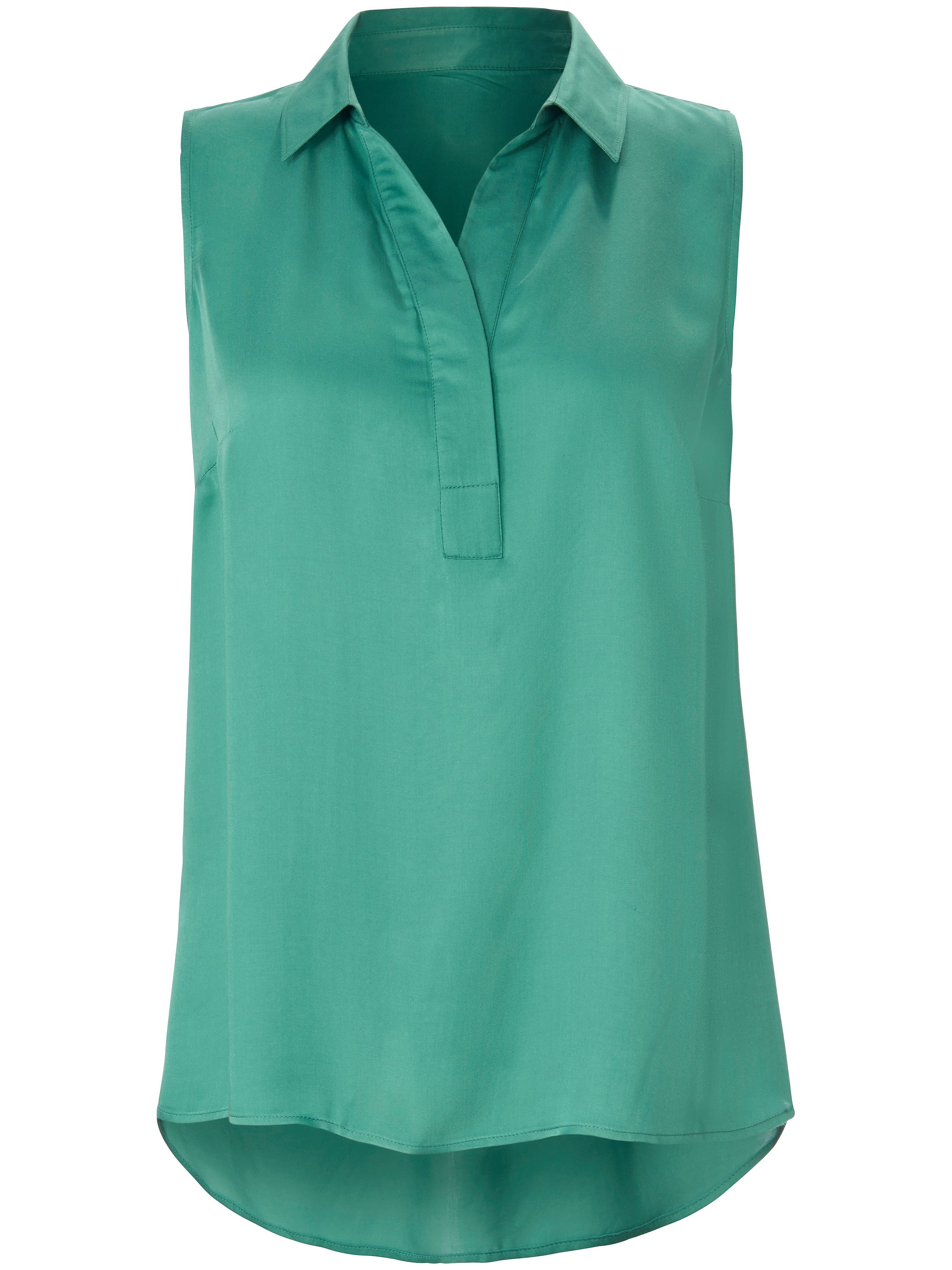 Mouwloze blouse overhemdkraag Van Emilia Lay groen