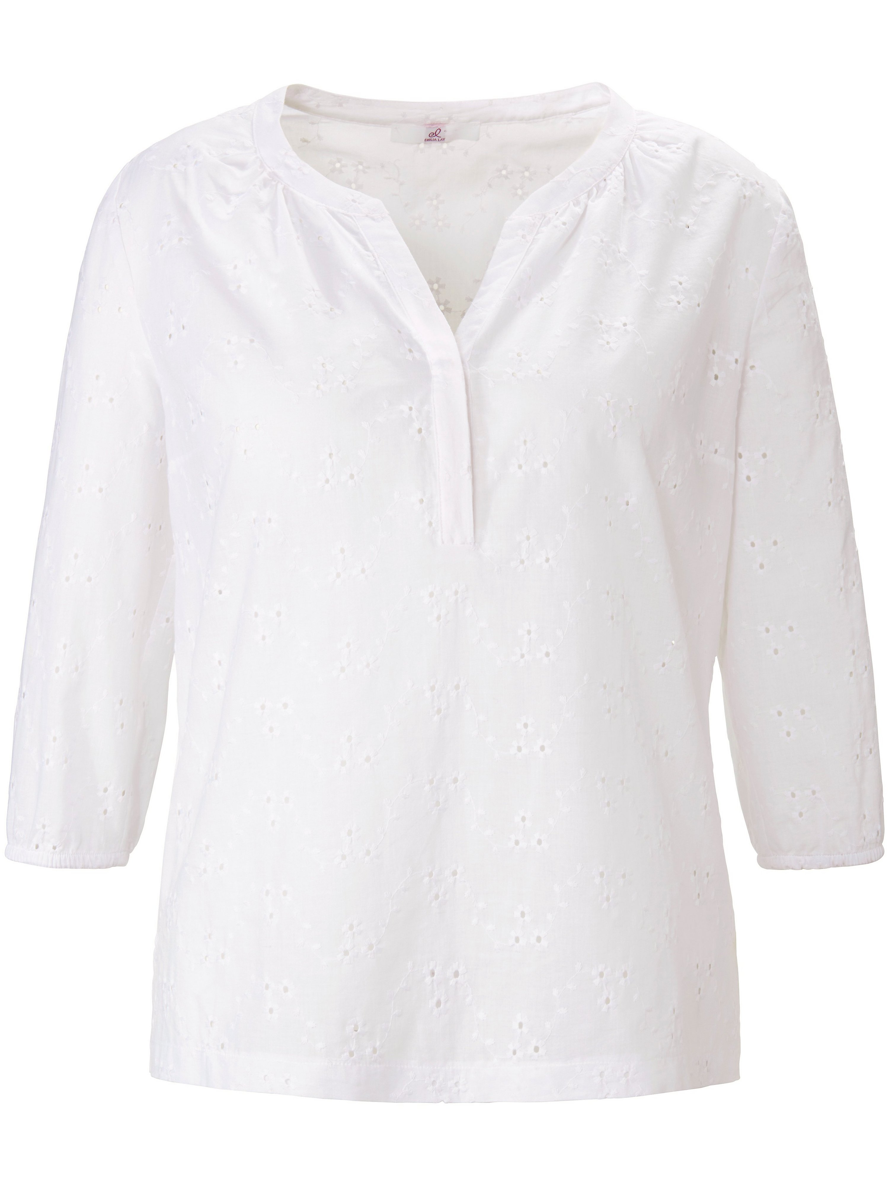 Pull-on style blouse in 100% cotton Anna Aura white