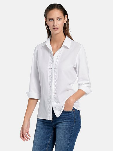 Just White - Shirt style blouse with 3/4-length slit sleeves