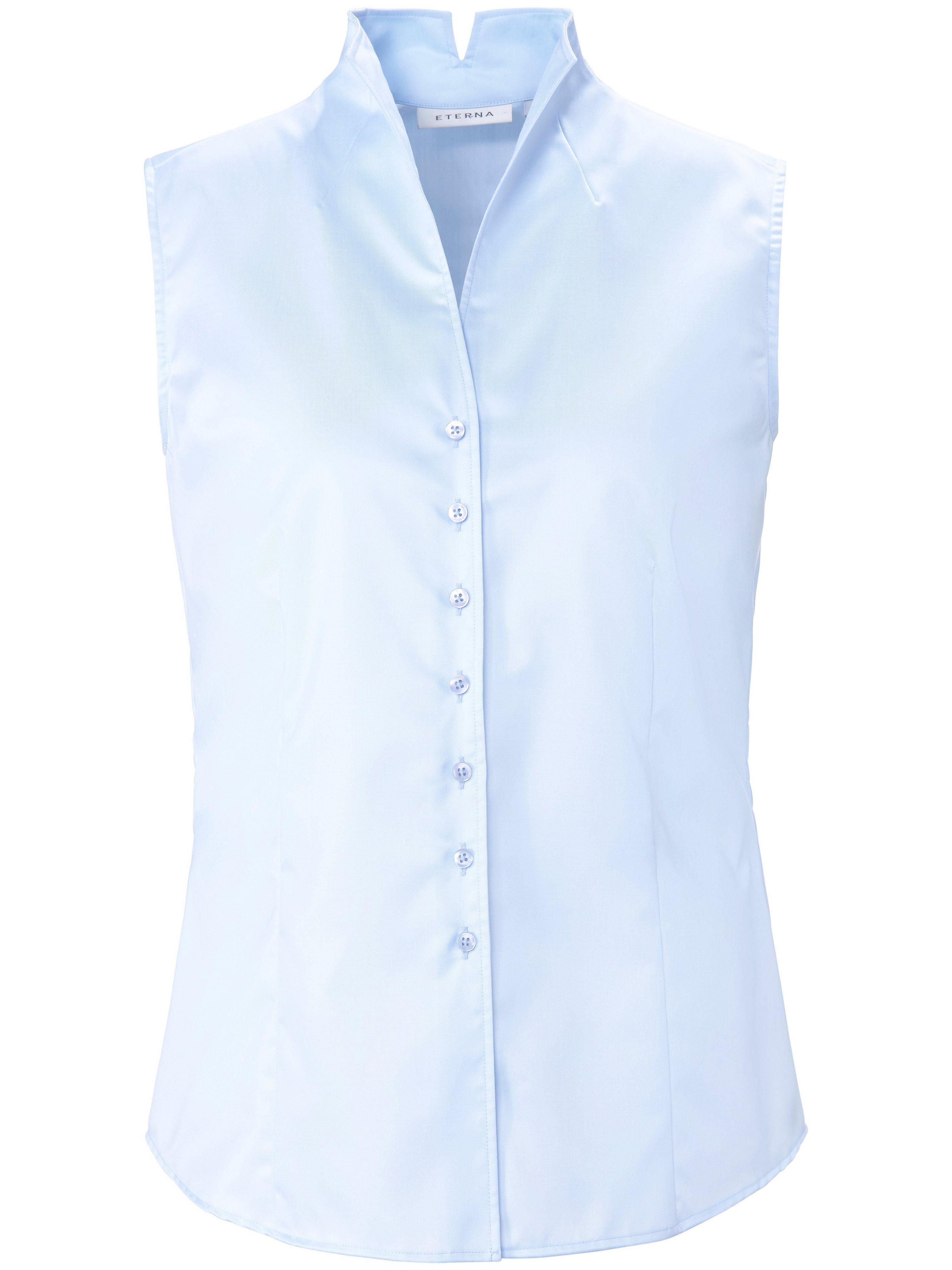 Mouwloze blouse 100% katoen Van Eterna blauw