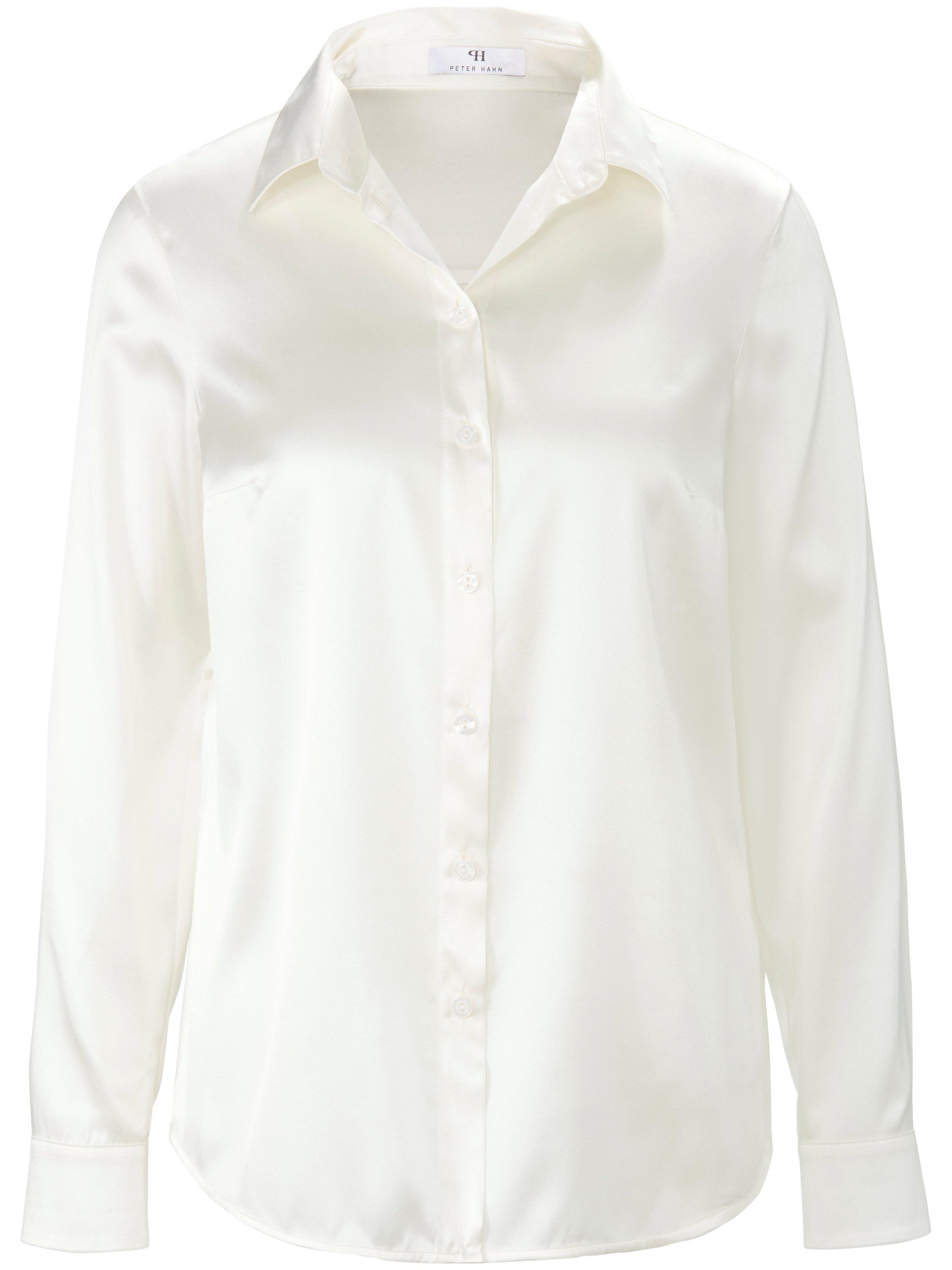Blouse in lang overhemdmodel Van Peter Hahn wit