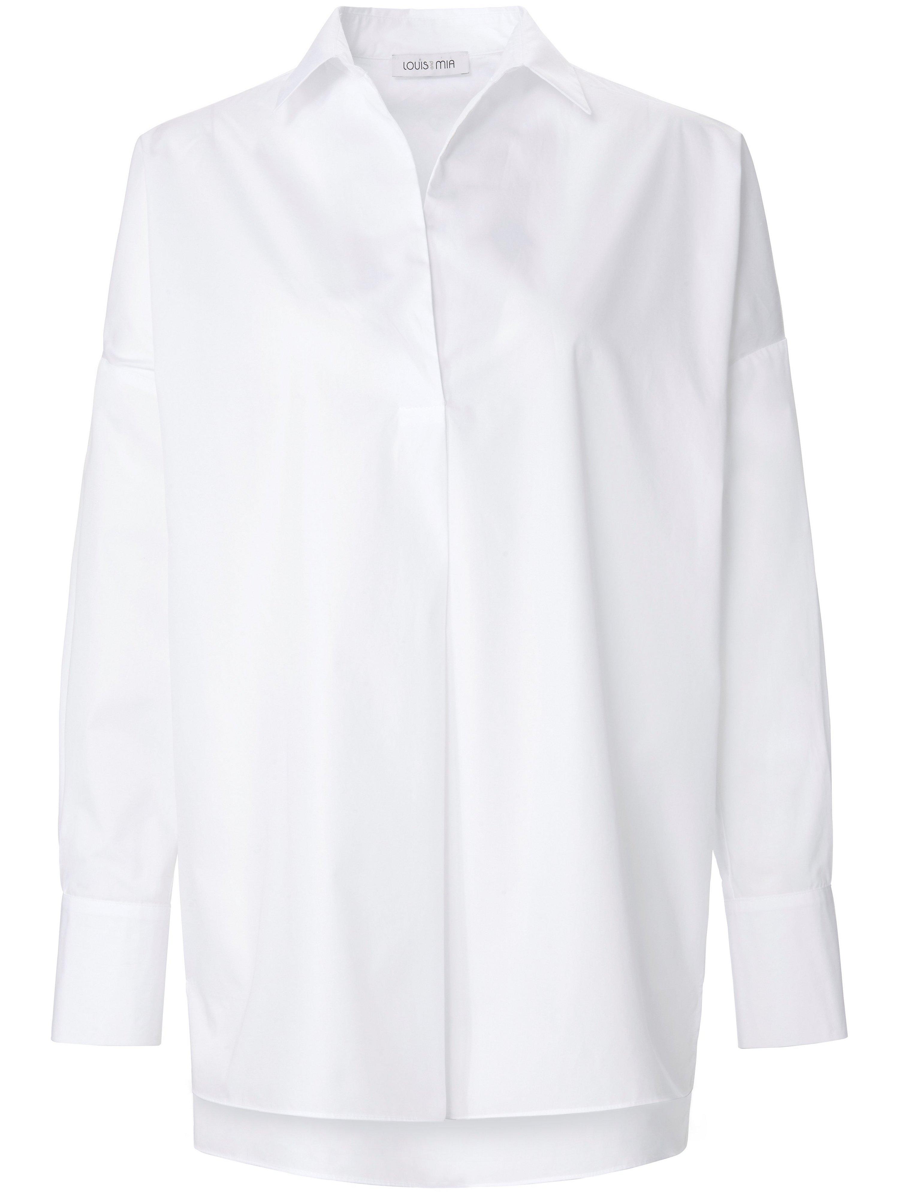 Lange blouse 100% katoen lange mouwen Van Louis and Mia wit