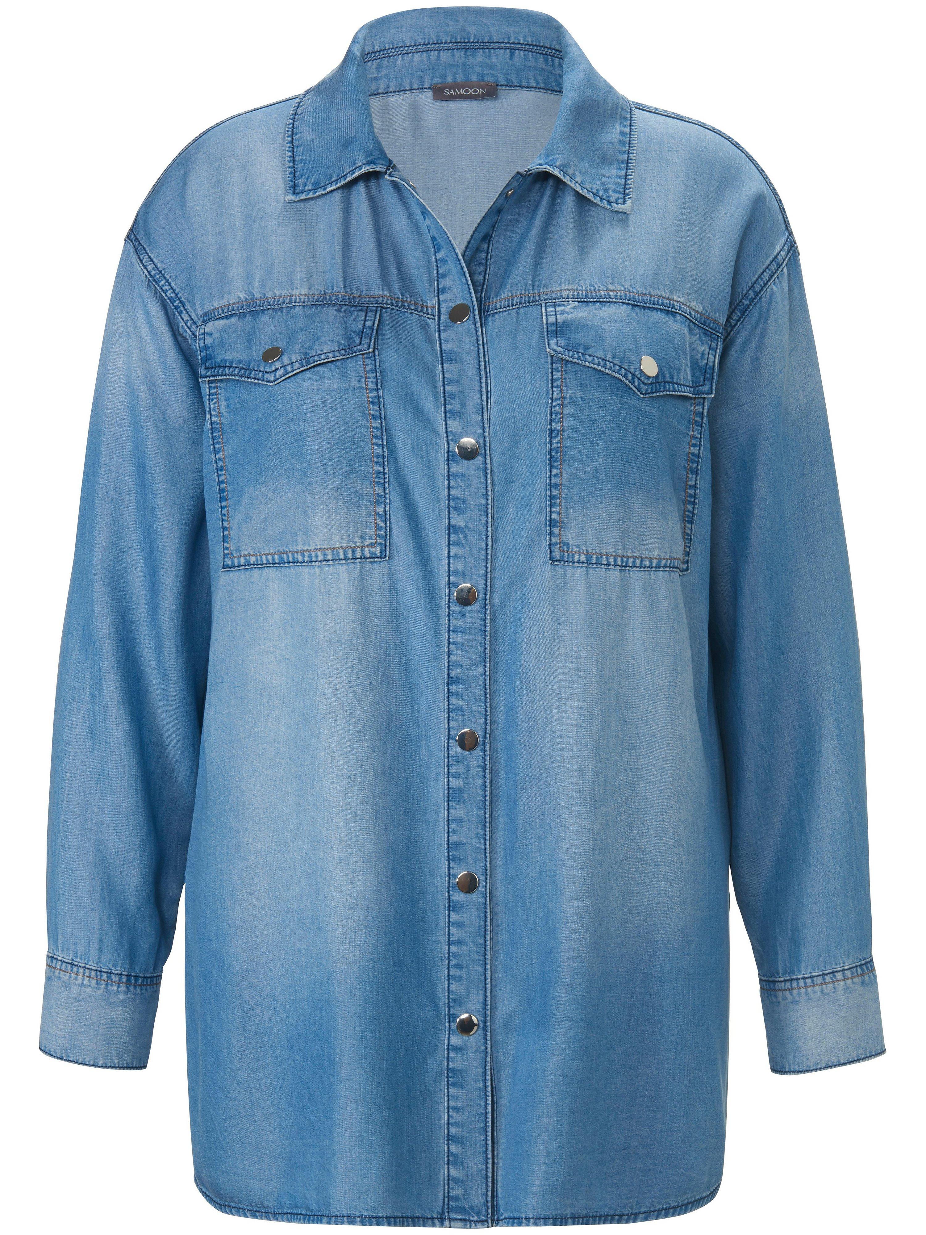 Jeansoverhemd lange mouwen Van Samoon blauw