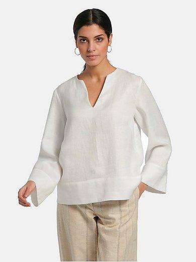 Lanius - V-neck blouse in 100% linen