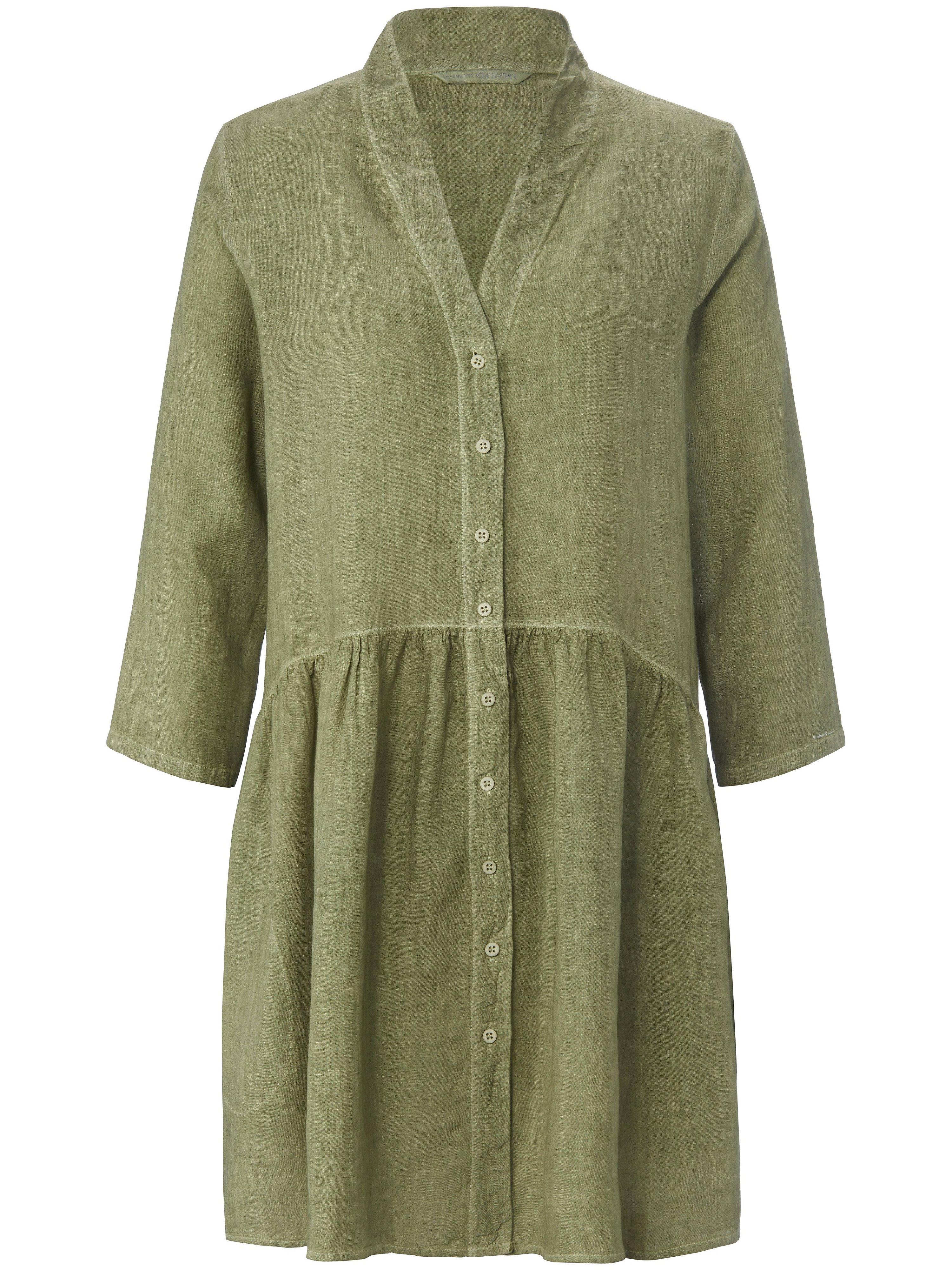 Lange blouse 100% linnen 3/4-mouwen Van elemente clemente groen