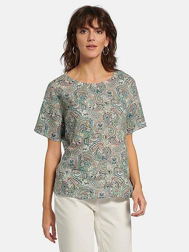 oui - Shirt van 100% linnen met verlaagde schoudernaden