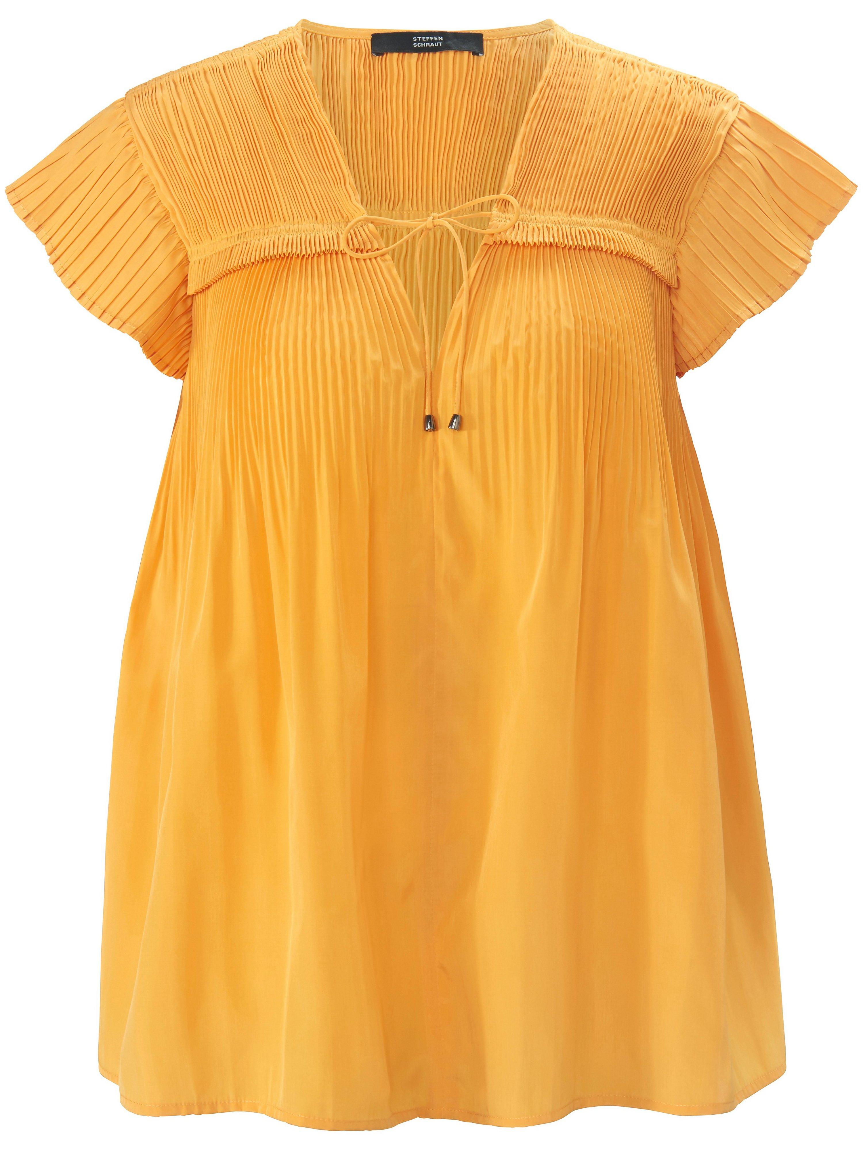 Mouwloze blouse V-hals Van Steffen Schraut geel