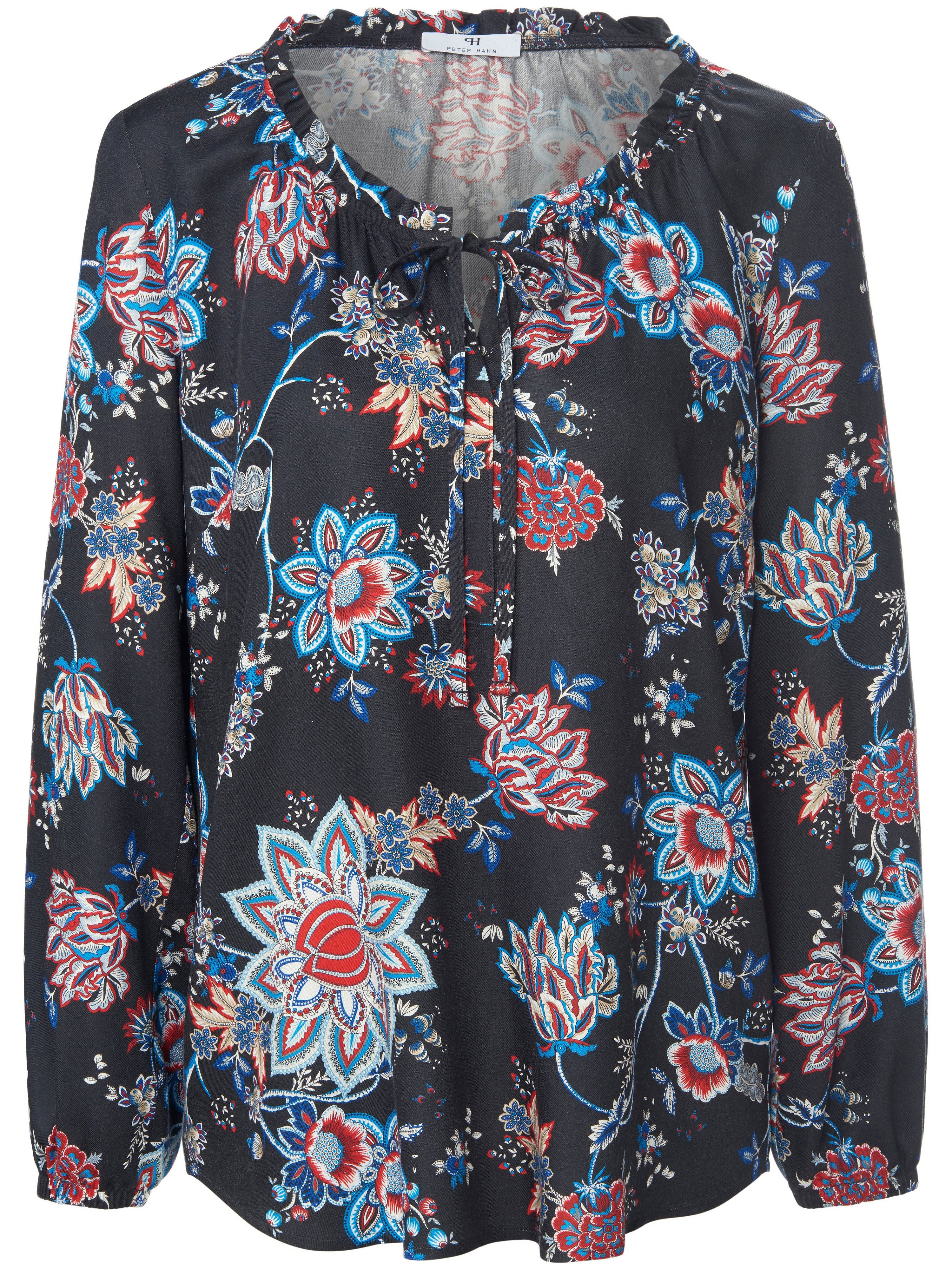 Lange blouse 100% viscose Van Peter Hahn blauw