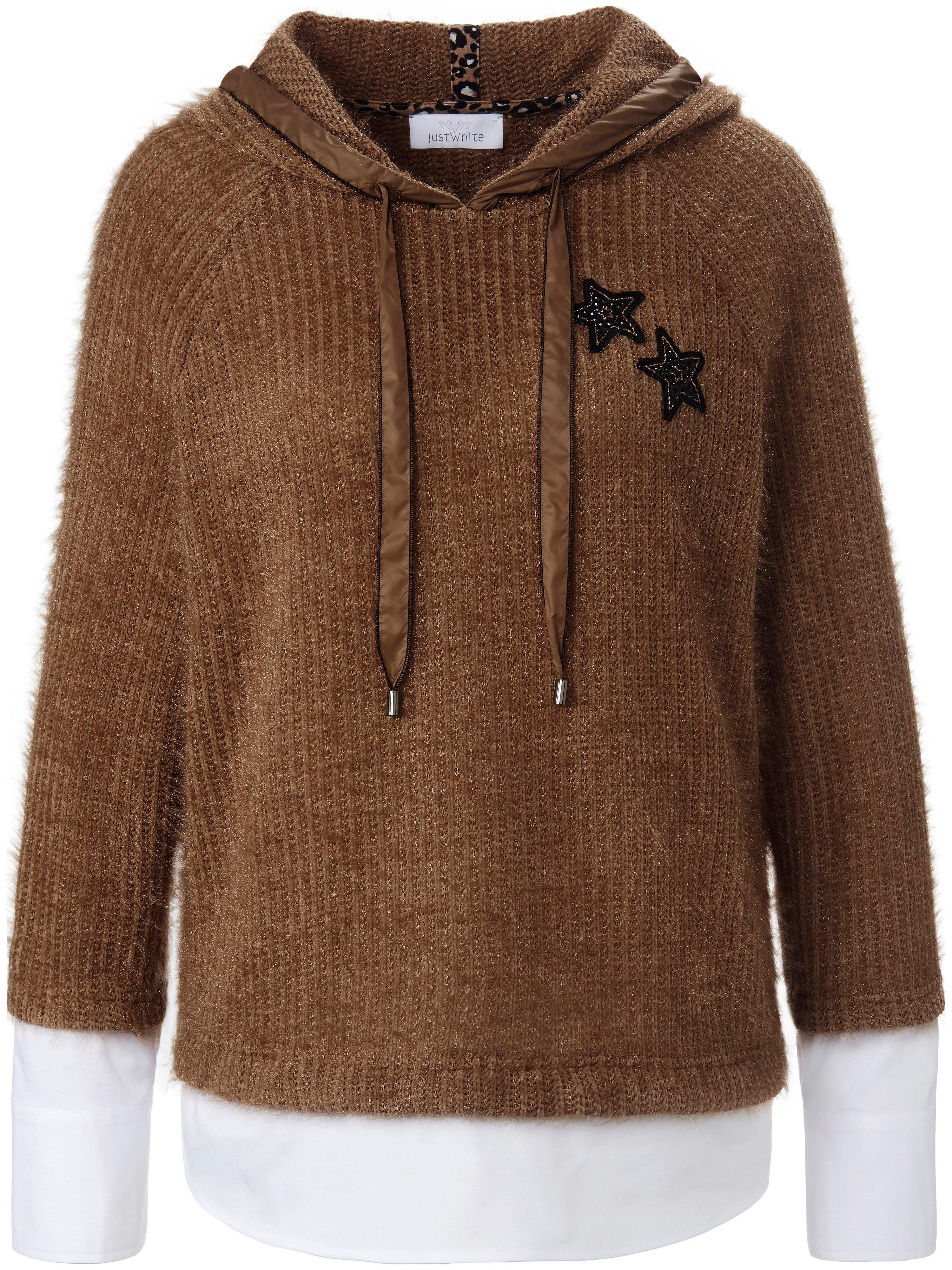 2-in-1-sweatshirt capuchon Van Just White bruin