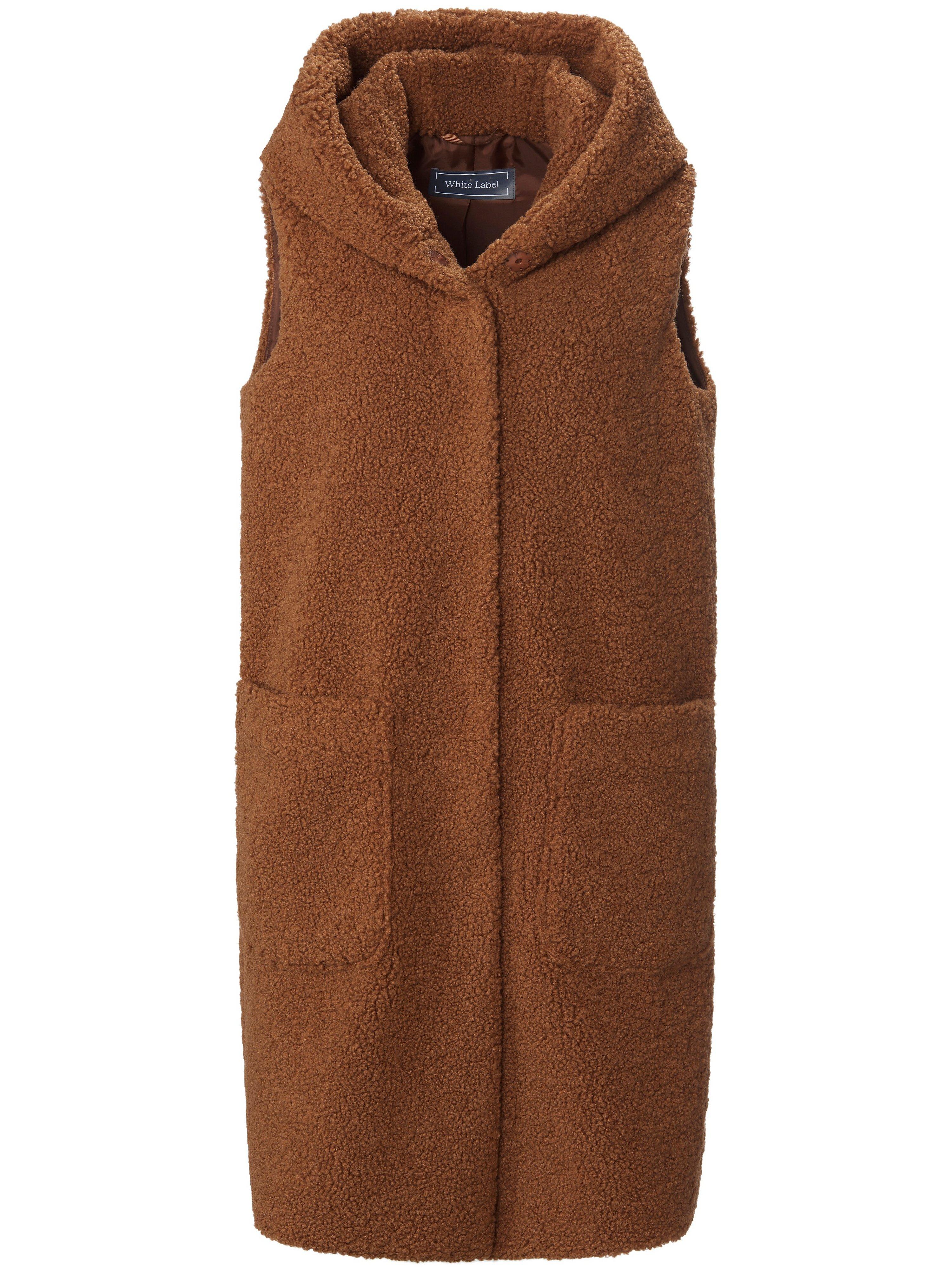 Lang mouwloos vest imitatiebont capuchon Van White Label bruin