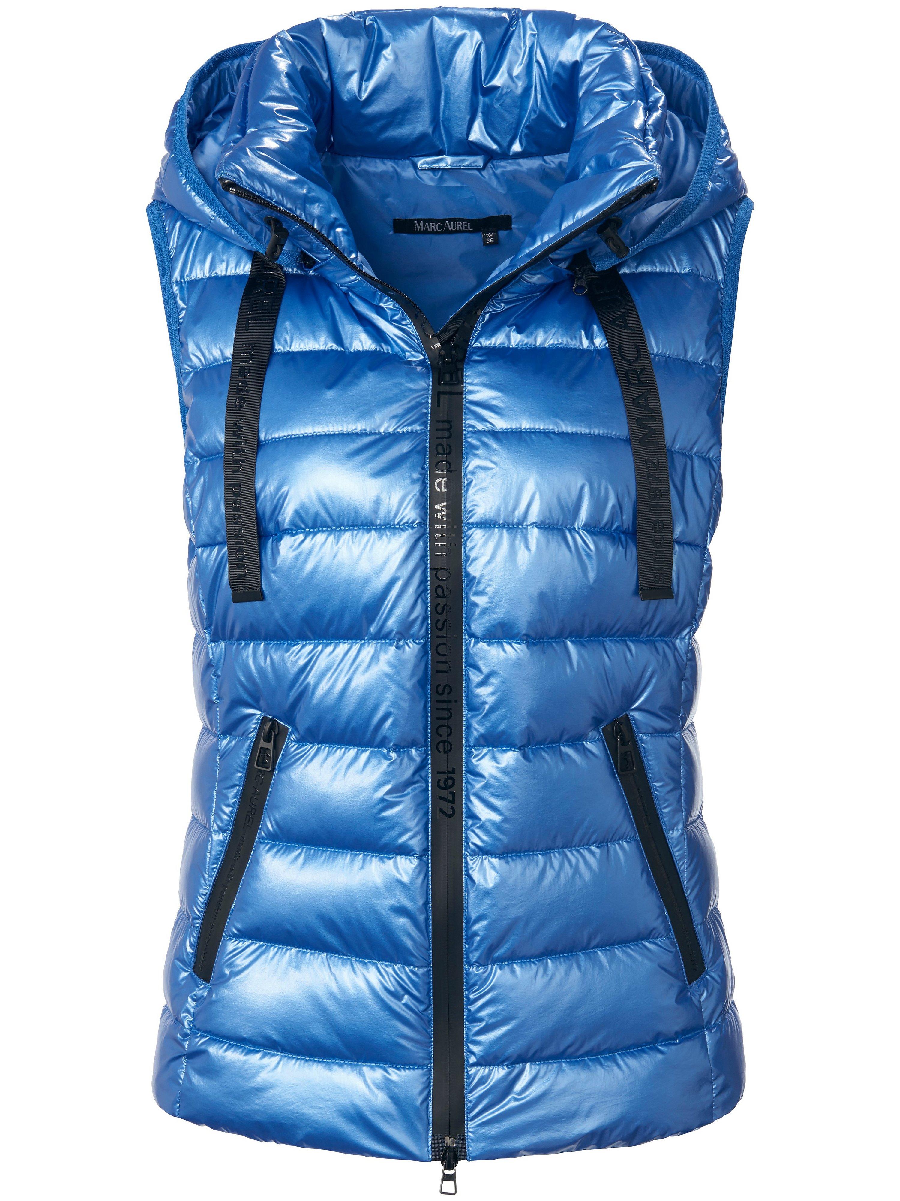 Bodywarmer imitatiedons staande kraag Van Marc Aurel blauw