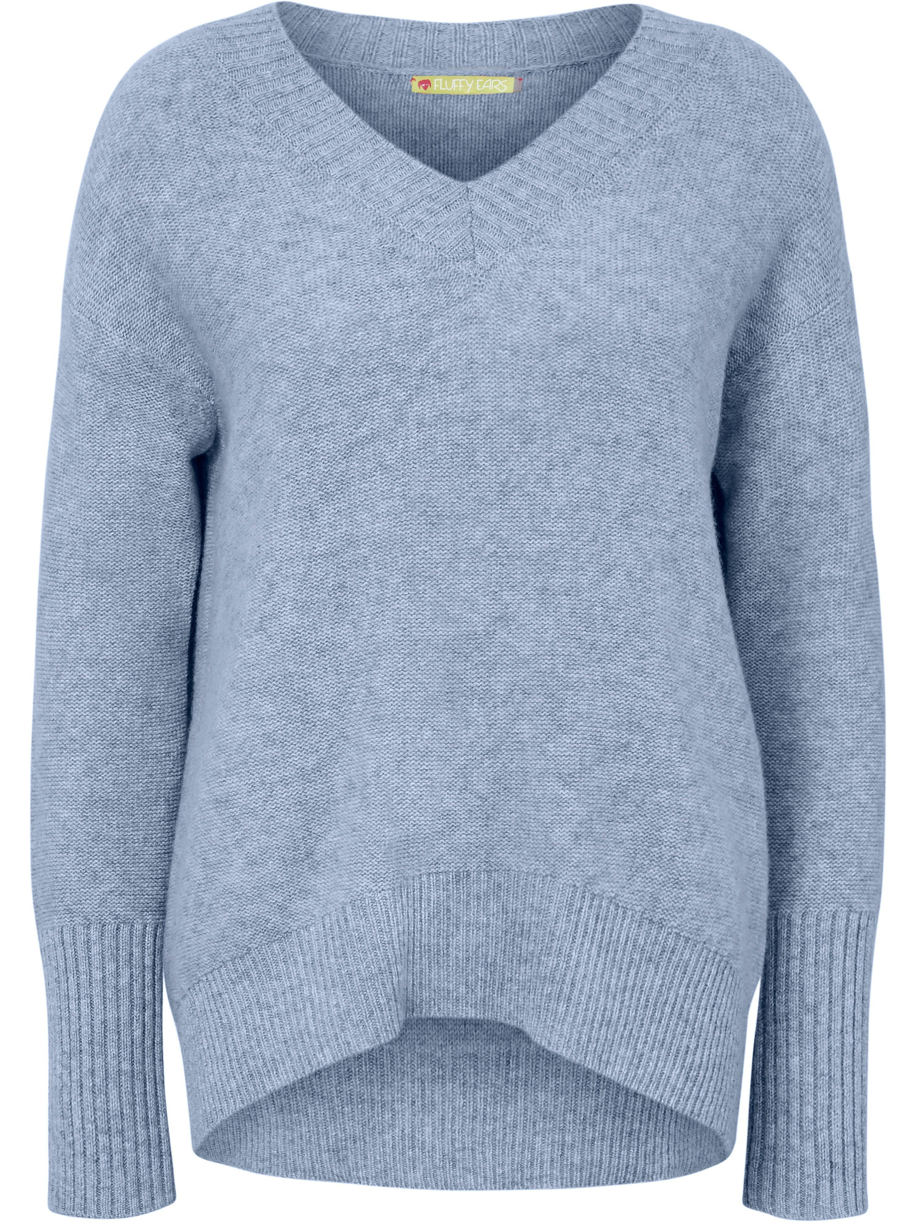 V-Pullover aus 100% Kaschmir FLUFFY EARS blau | Bekleidung > Pullover > V-Pullover | FLUFFY EARS