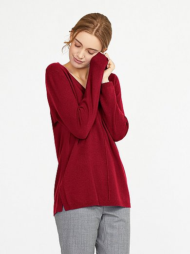 include - V-neck jumper in pure cashmere