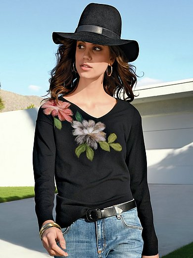 portray berlin - V-neck jumper with milled wool flowers