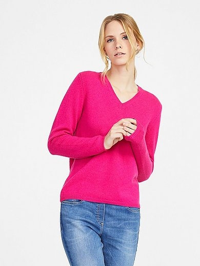 Peter Hahn Cashmere - V neck pullover in 100% PREMIUM cashmere