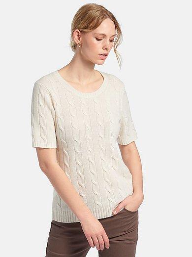 Peter Hahn Cashmere - Rundhalsad tröja med flätmönster i 100% kashmir