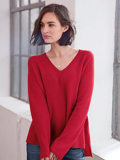 Looxent - V-neck jumper in 100% new milled wool