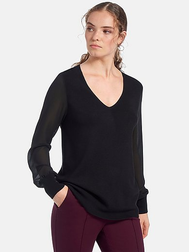 mayfair by Peter Hahn - V-neck jumper with semi-sheer sleeves