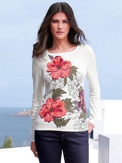 Peter Hahn - Rundhals-Pullover mit Blüten-Motiven