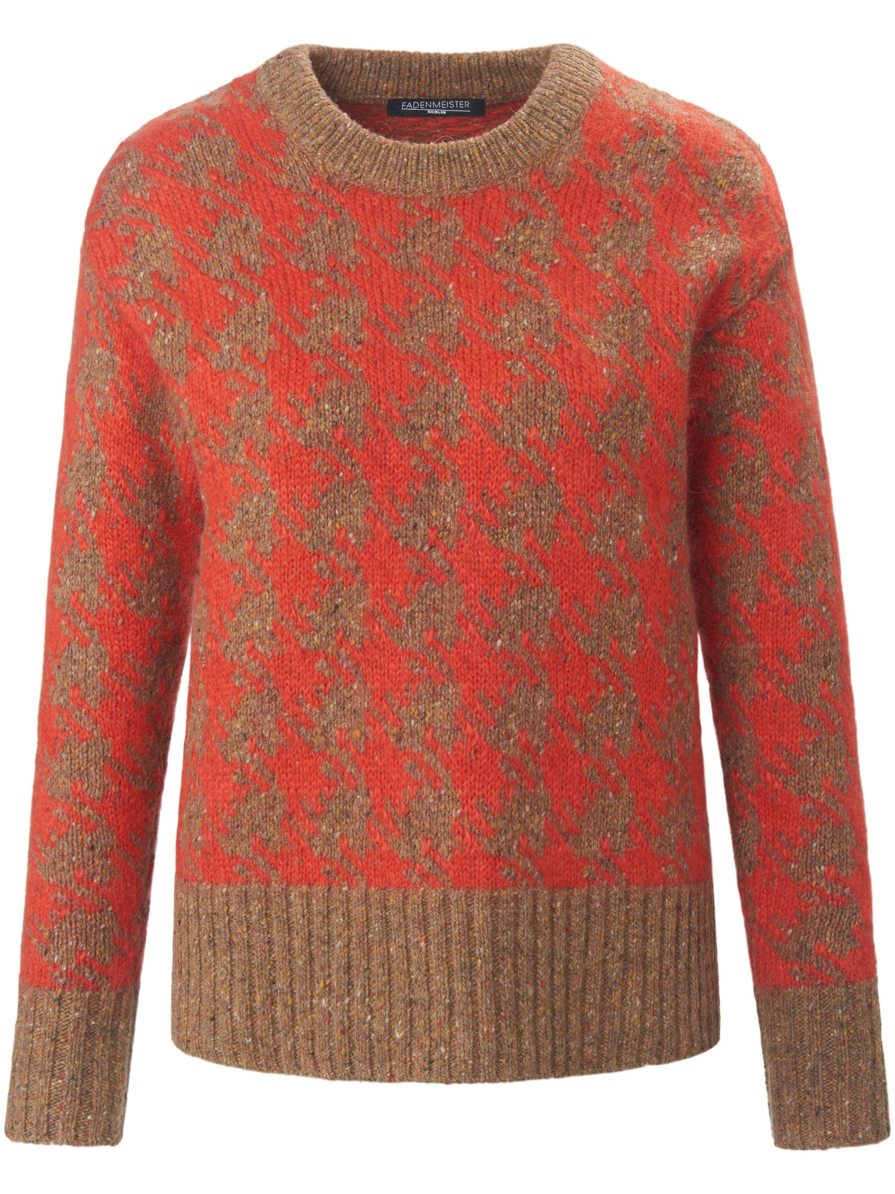 Round neck jumper long sleeves Fadenmeister Berlin red