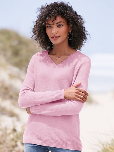 Peter Hahn Cashmere - V-neck jumper in Pure cashmere in premium quality