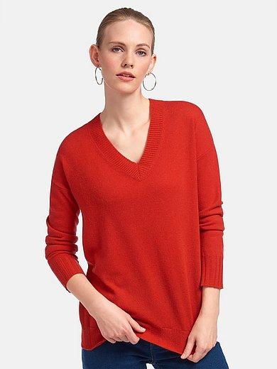 include - V-ringad tröja med lång ärm i 100% kashmir