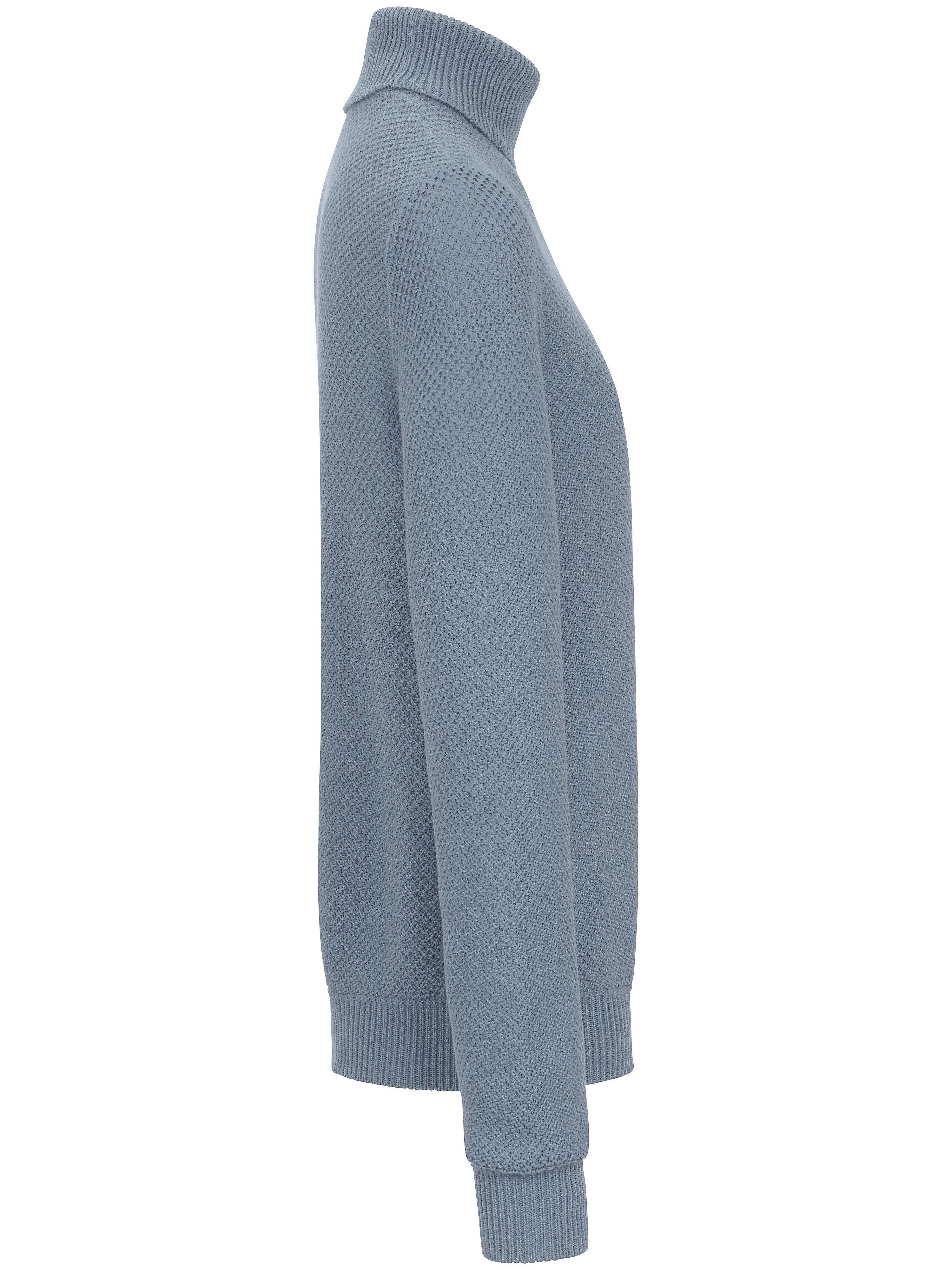 Strikbluse rullekrave Fra Peter Hahn blå