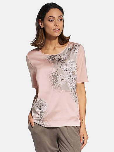 Basler - Round neck top with sequins and floral print