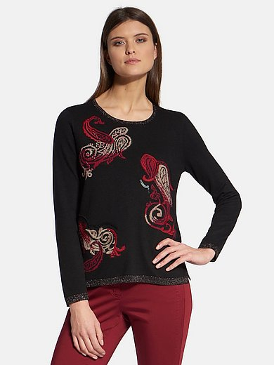 Basler - Round neck jumper with embroidery and sequins