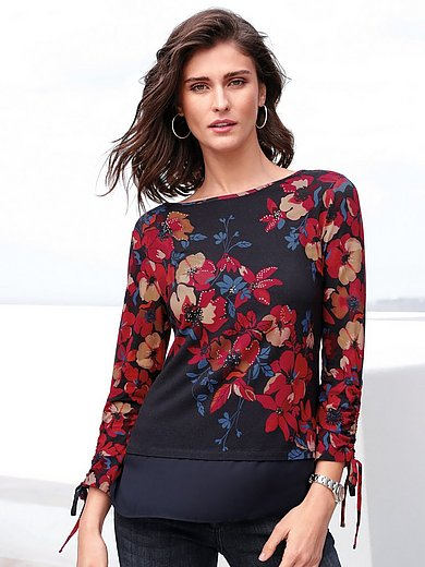 Betty Barclay - Round neck top with floral print and rhinestones