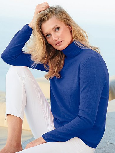 include - Roll-neck jumper in pure new wool and cashmere