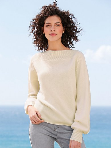 FTC Cashmere - Pullover with a boat neckline in 100% cashmere