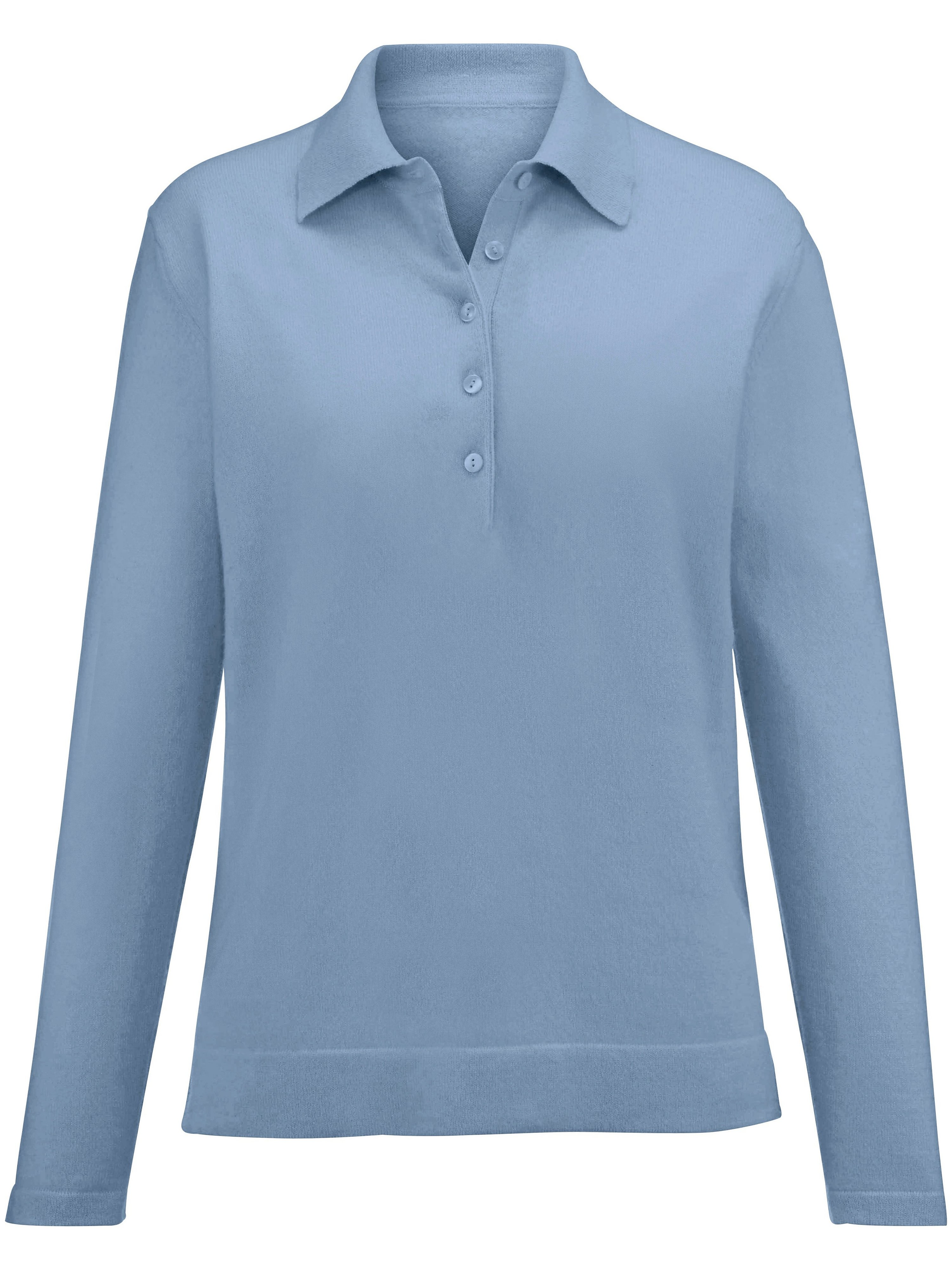 Polo collar jumper design Paula Peter Hahn Cashmere blue