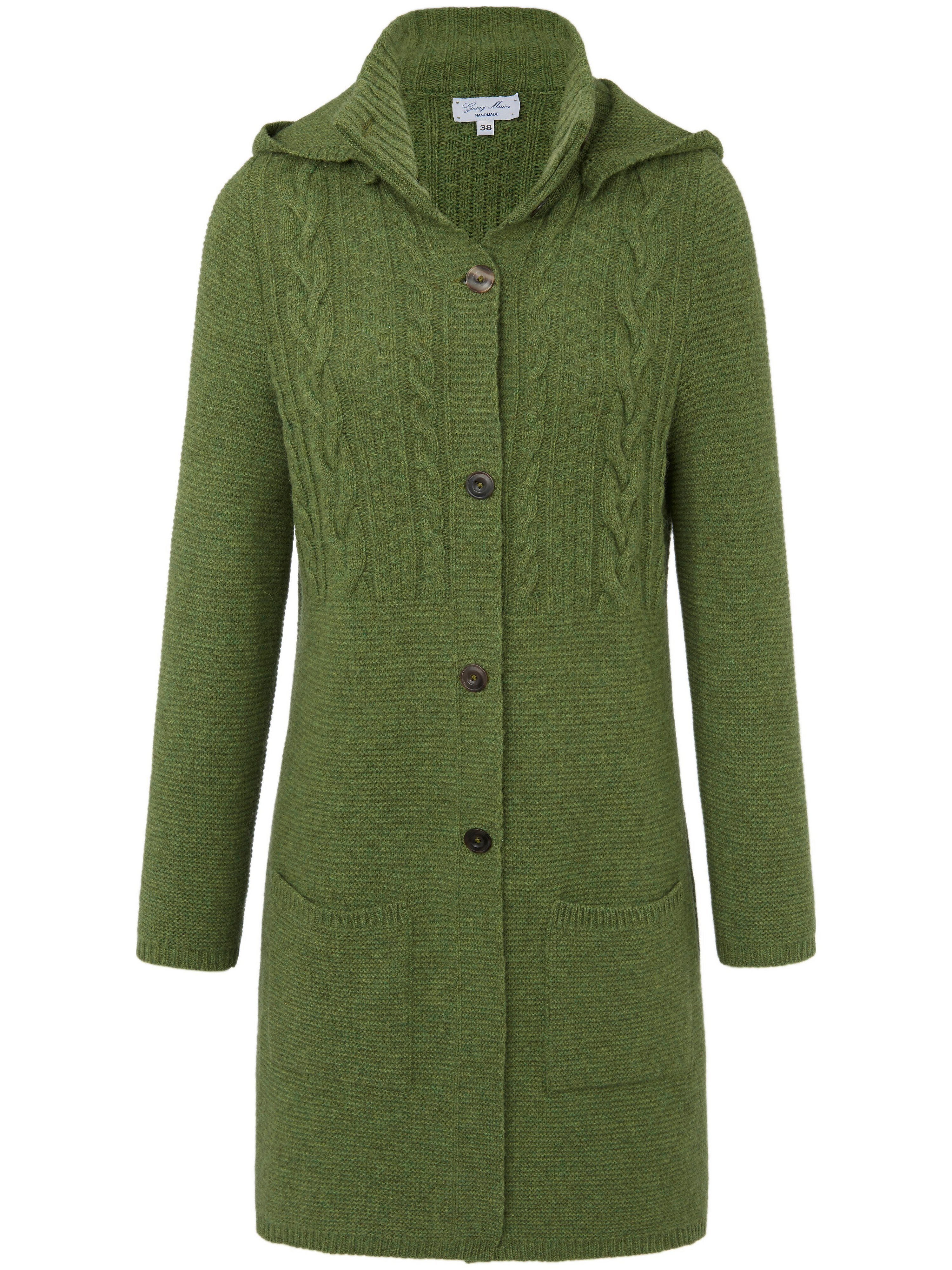 Le manteau maille 100% laine vierge  Georg Maier vert taille 44