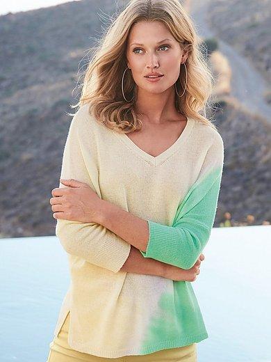 include - V-ringad tröja med 3/4-ärm i 100% kashmir