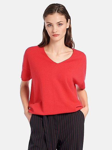 include - V-ringad tröja med kort ärm i 100% kashmir