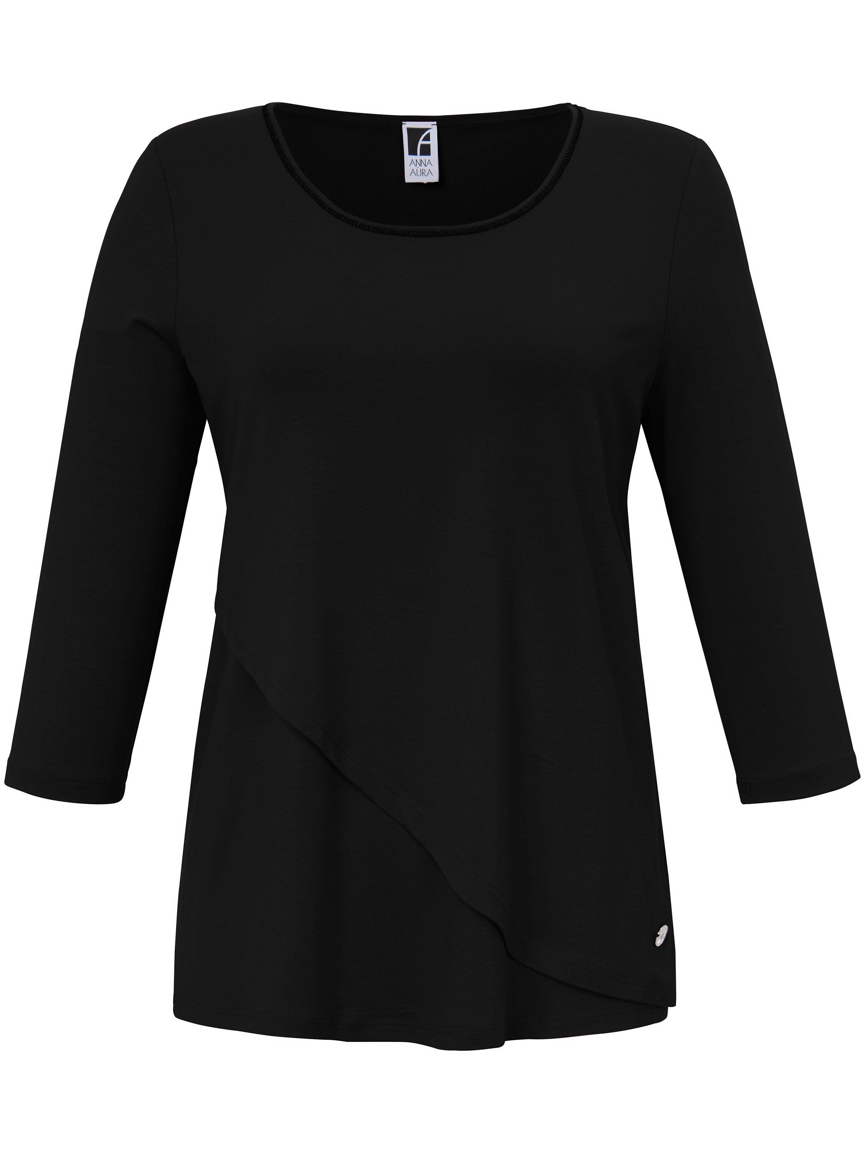 Round neck top 3/4-length sleeves Anna Aura black