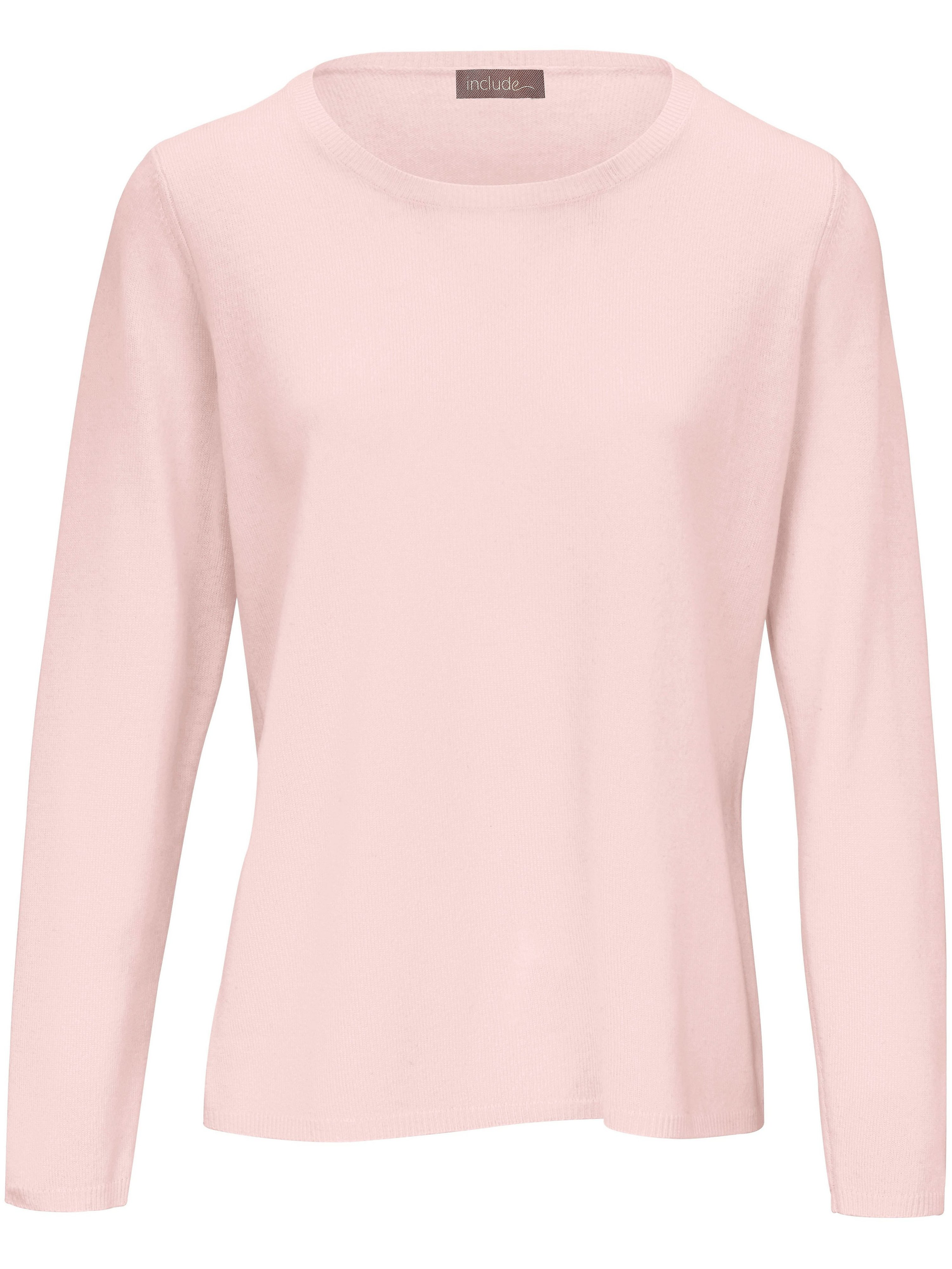 Round neck jumper in pure new wool and cashmere include pale pink