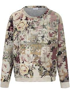 Looxent Sweatshirt mit 11 Arm GrauEcruBlau