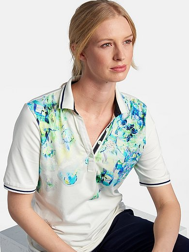 Basler - Jersey polo shirt with short sleeves and print